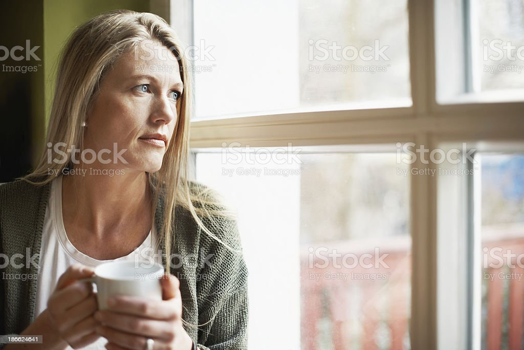 Contemplating life stock photo