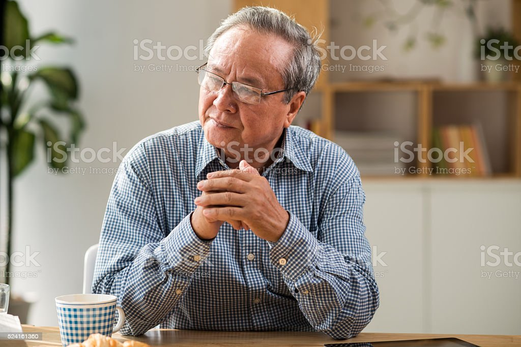 Contemplating man stock photo