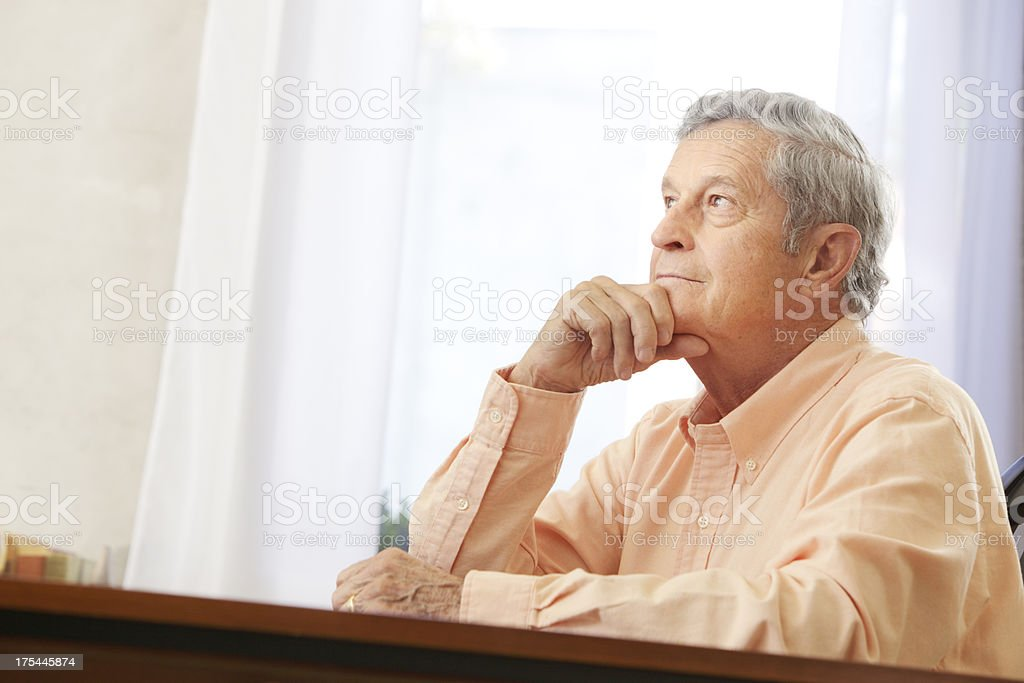 Contemplating Senior stock photo