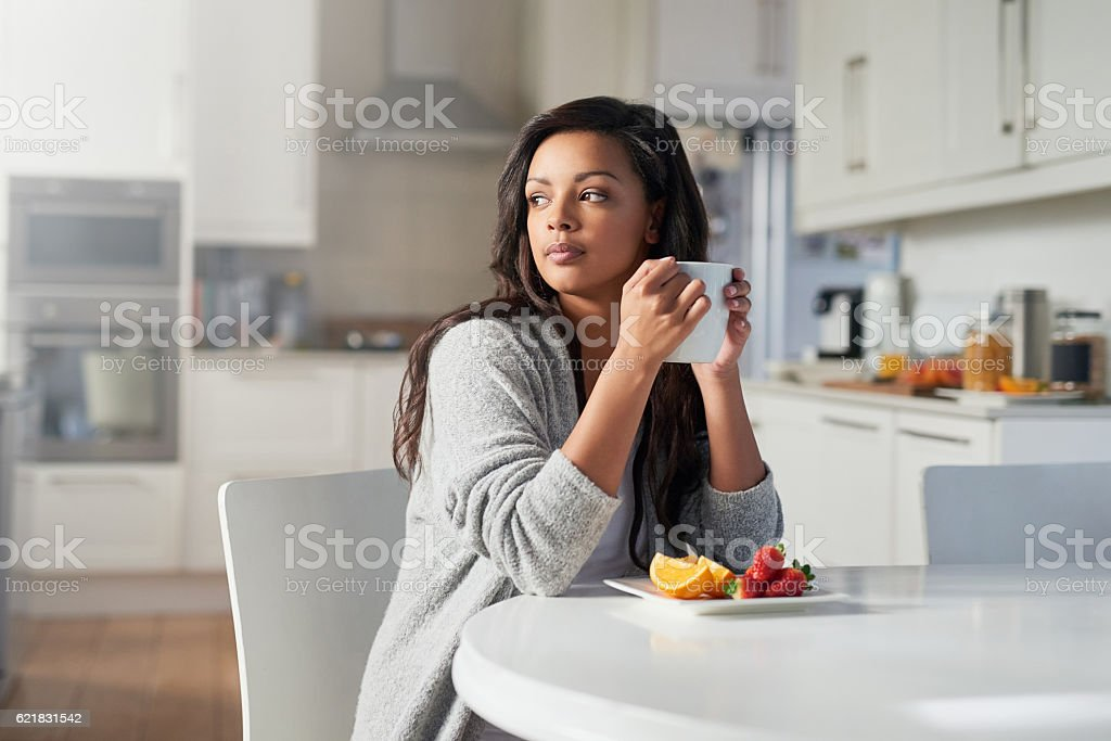 Contemplating the day that lies ahead stock photo
