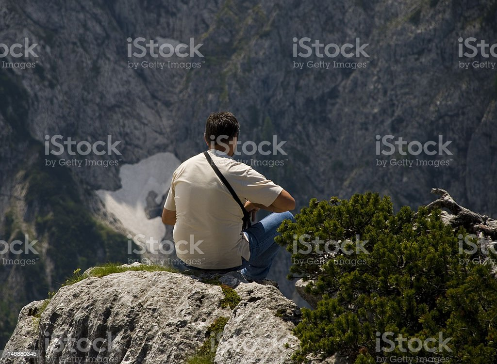 Contemplating the meaning of life stock photo