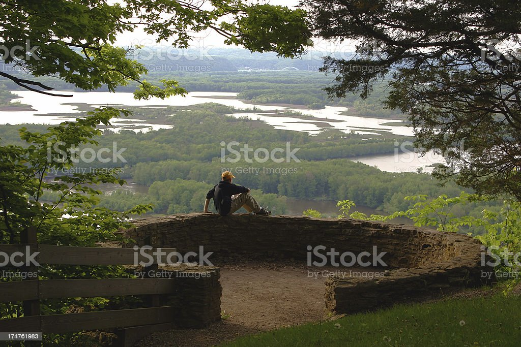 Contemplating the View (boy sitting in center) royalty-free stock photo
