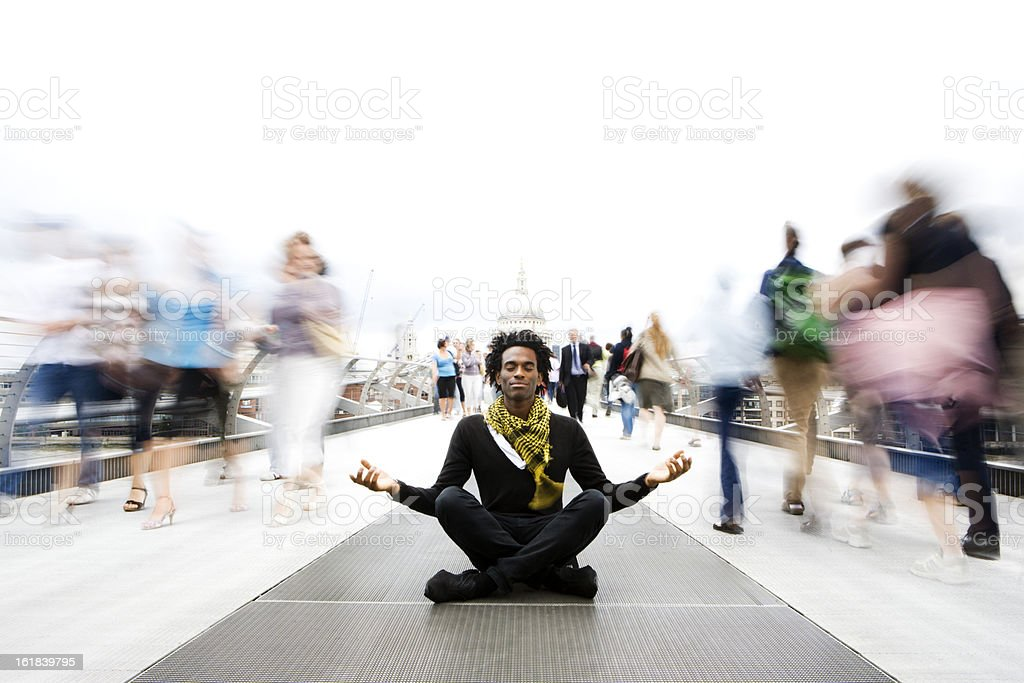 contemplation: a moment of calm meditation in a fast-paced world royalty-free stock photo