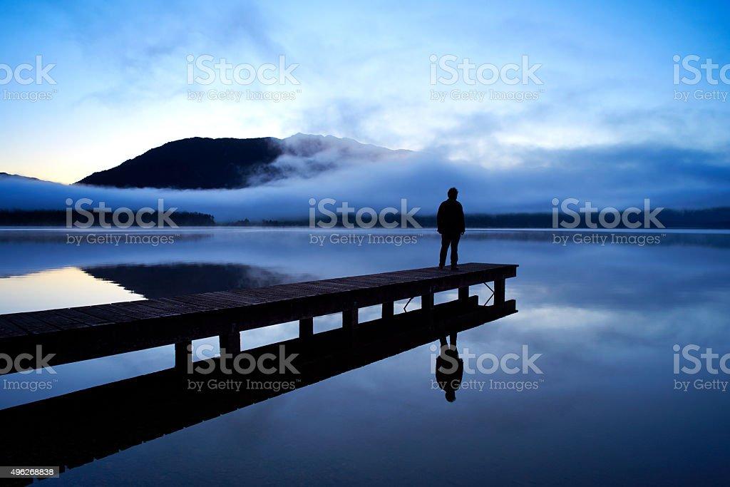 Contemplation At Lake Kaniere stock photo