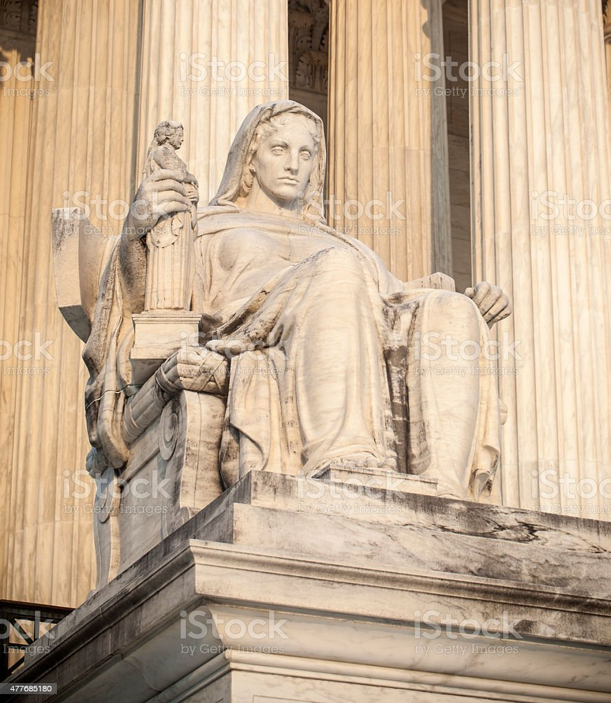 Contemplation Of Justice At The Supreme Court In Washington DC stock photo