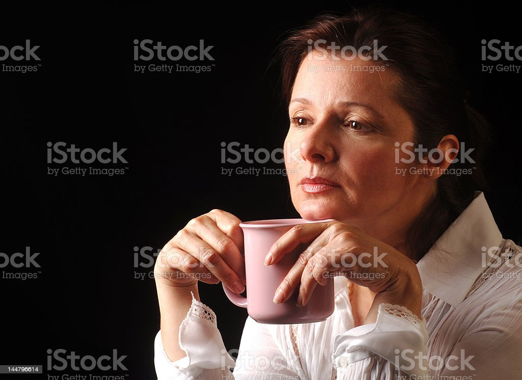 Contemplation over coffee royalty-free stock photo