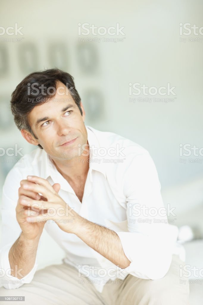 Contemplative mature man looking away royalty-free stock photo