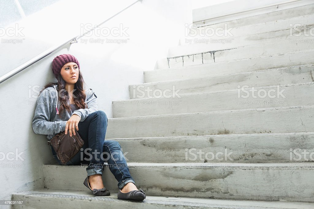 Contemplative young woman stock photo