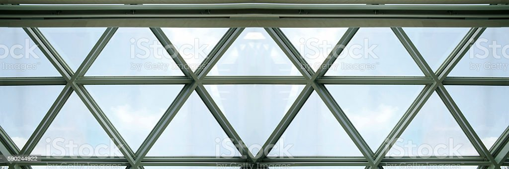 Contemporary architecture. Fragment of structural glass ceiling with triangular pattern stock photo