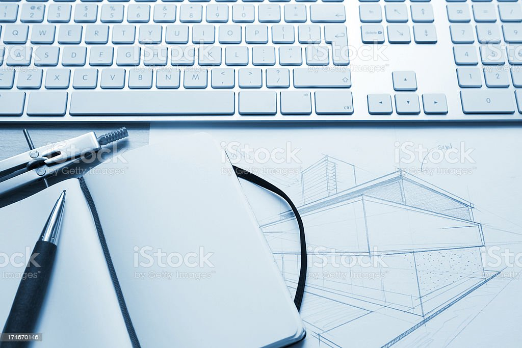 Contemporary architecture sketch royalty-free stock photo