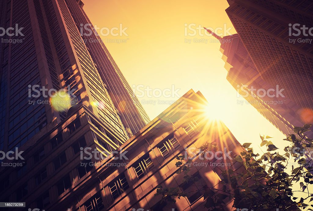 Contemporary architecture skyscraper against sun in Philadelphia stock photo
