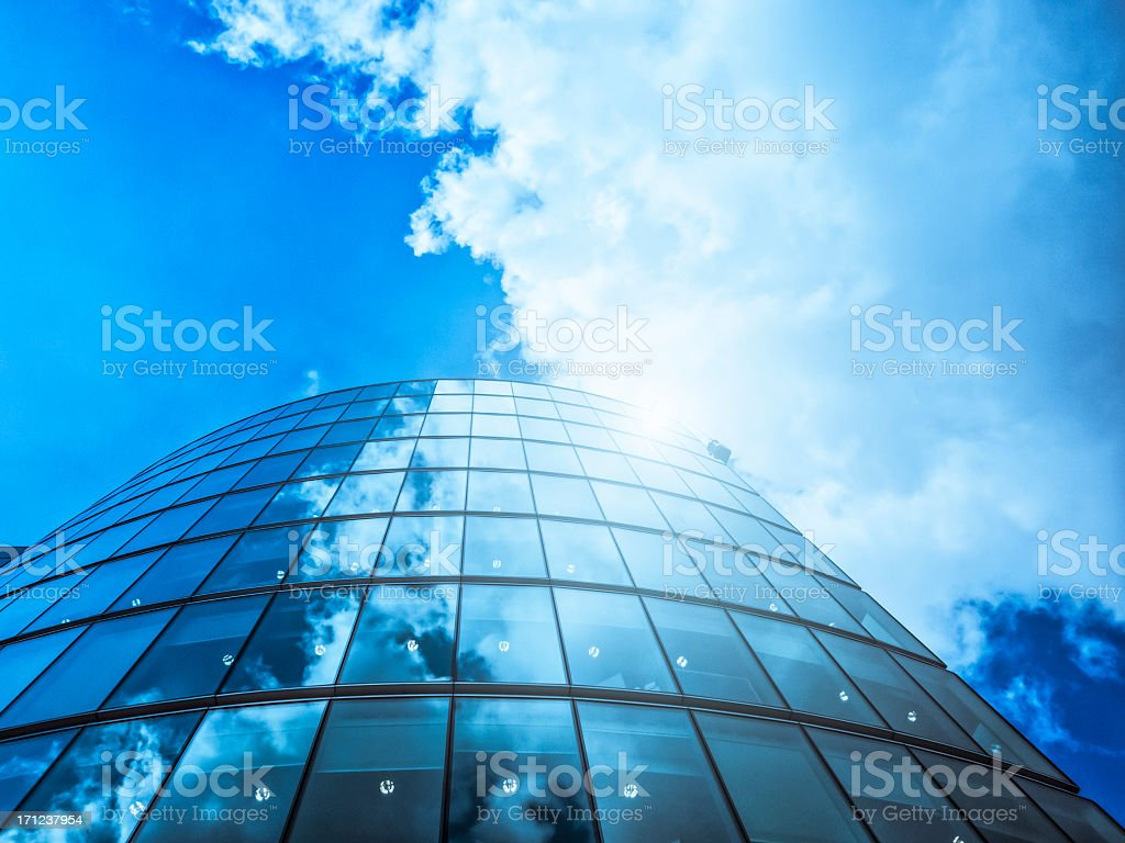 Contemporary architecture with clouds in London stock photo