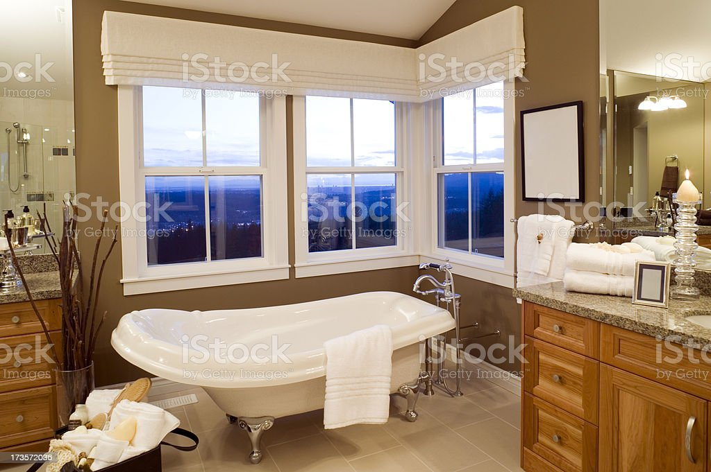 contemporary bathroom bathtub stock photo