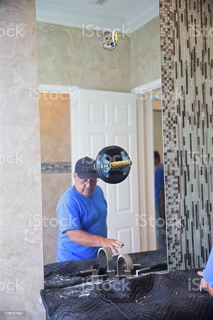 Contemporary bathroom construction royalty-free stock photo