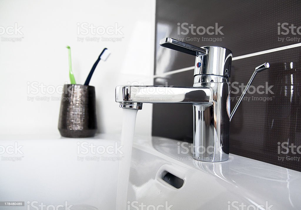 contemporary bathroom sink detail stock photo