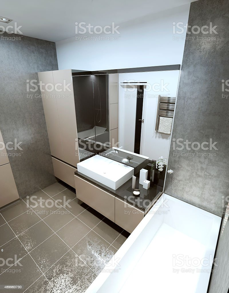 Contemporary bathroom with luxurious modern furnishings. stock photo