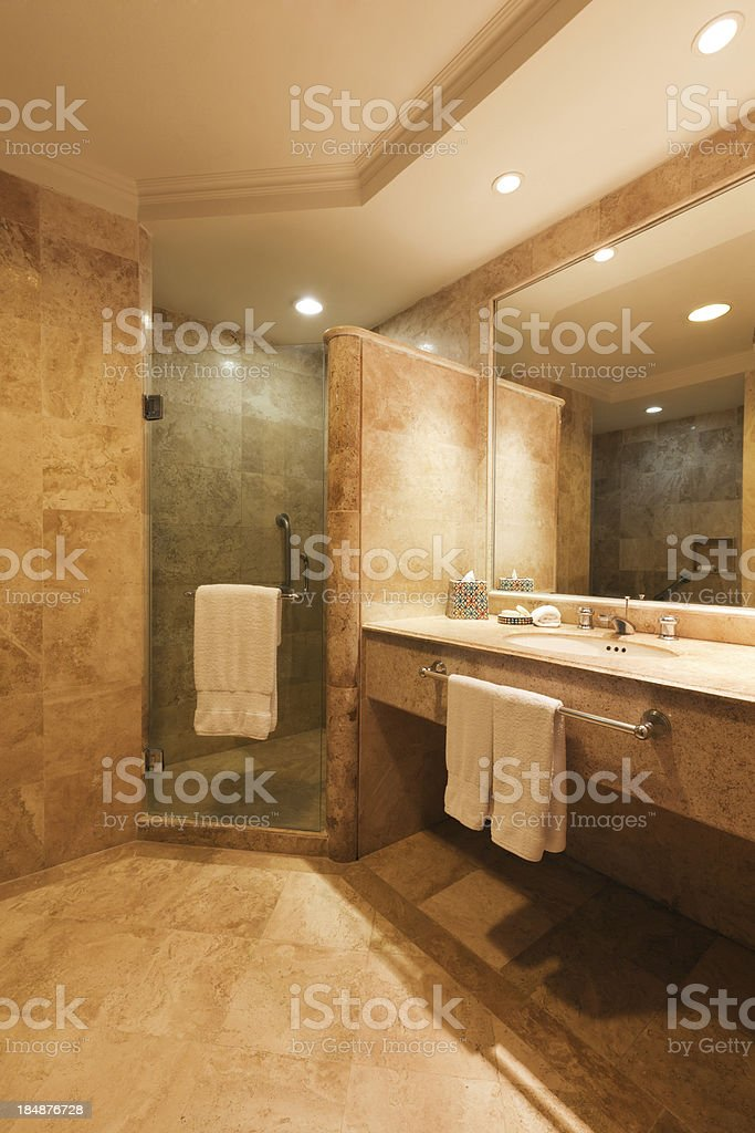 Contemporary Bathroom with Shower Stall and Vanity Sink stock photo
