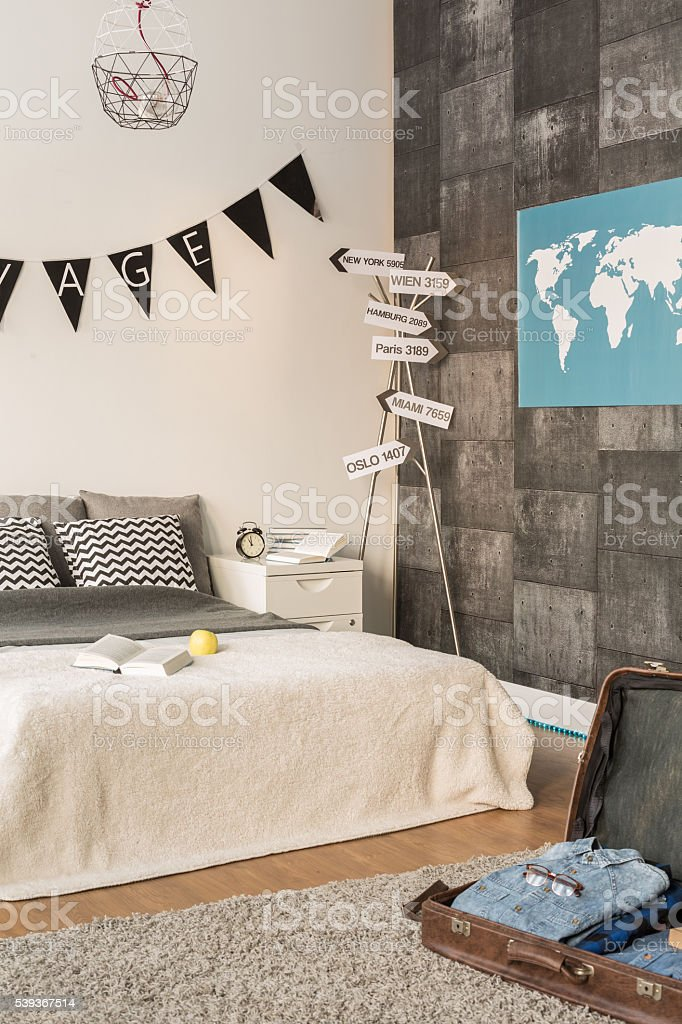 Contemporary bedroom for young traveler stock photo