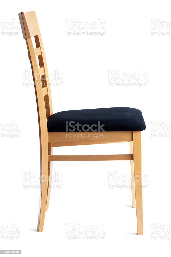 Contemporary Beech Cushioned Chair Side View Isolated on White Background stock photo