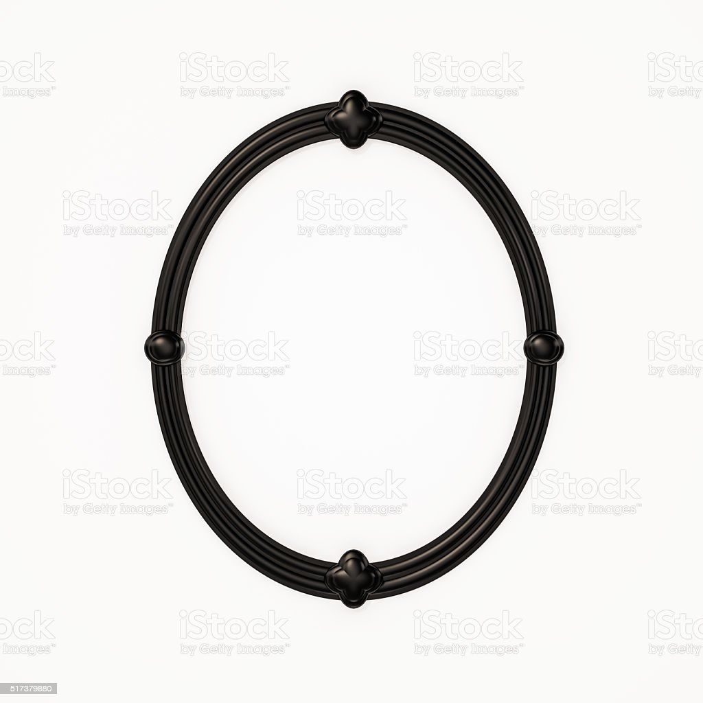 Contemporary black oval picture frame on white background, 3d rendered stock photo