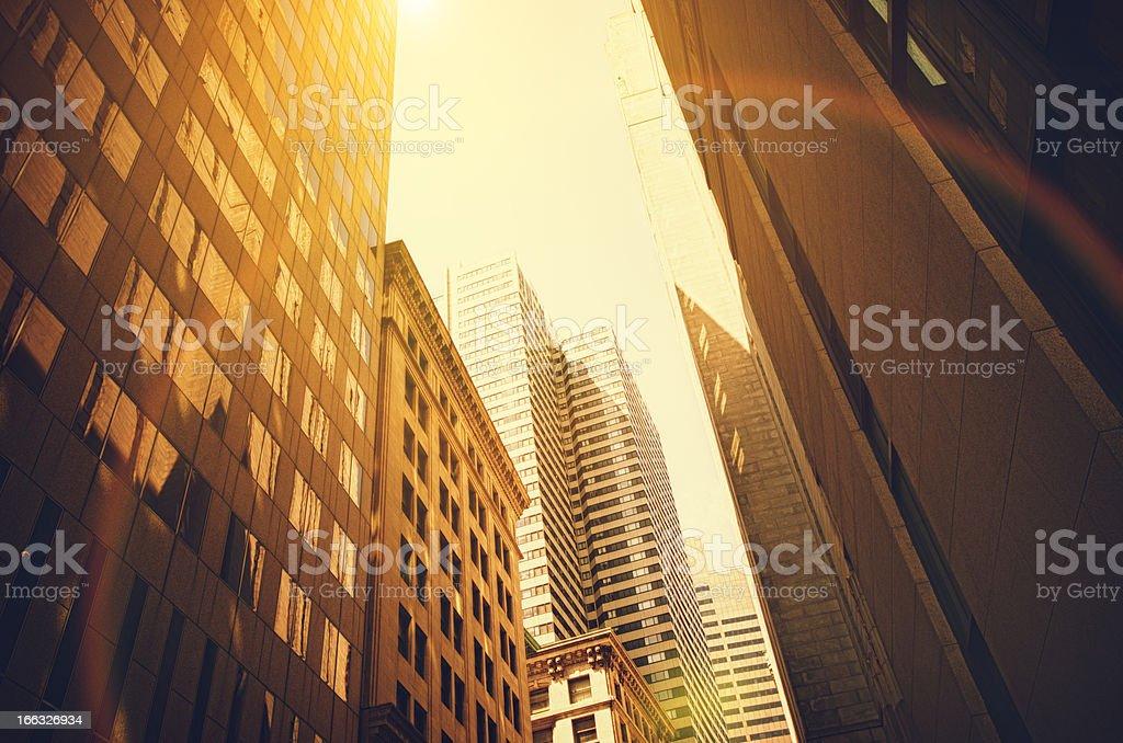 Contemporary Boston skyscraper against Sun royalty-free stock photo