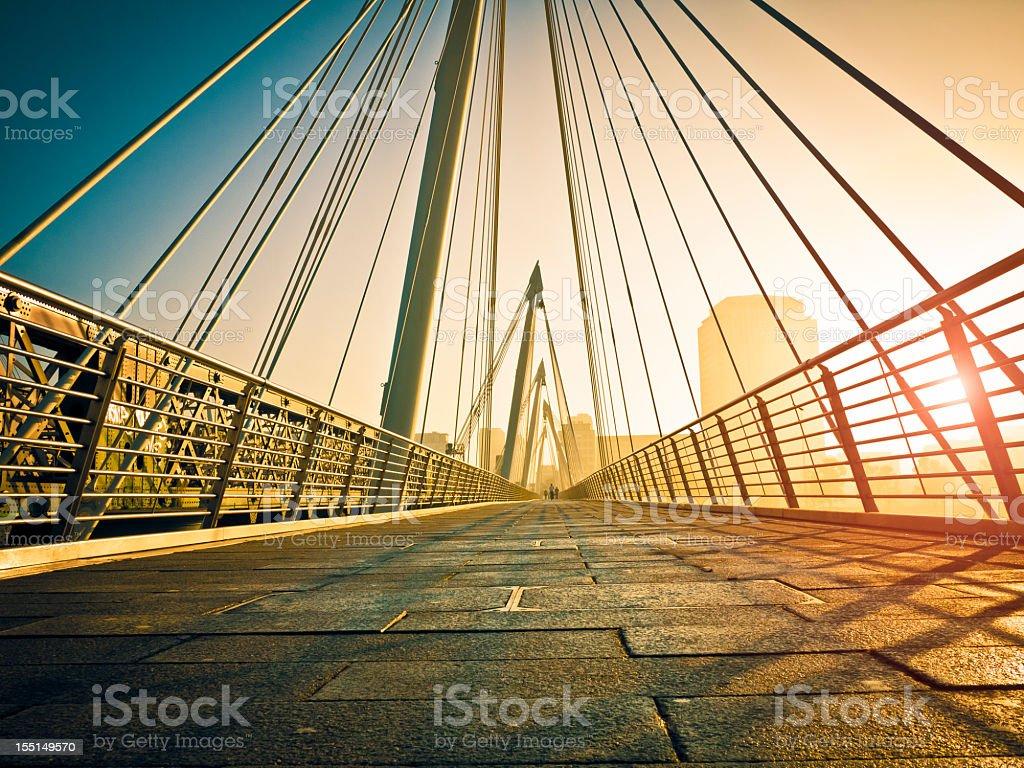 Contemporary Bridge In London At Dawn stock photo