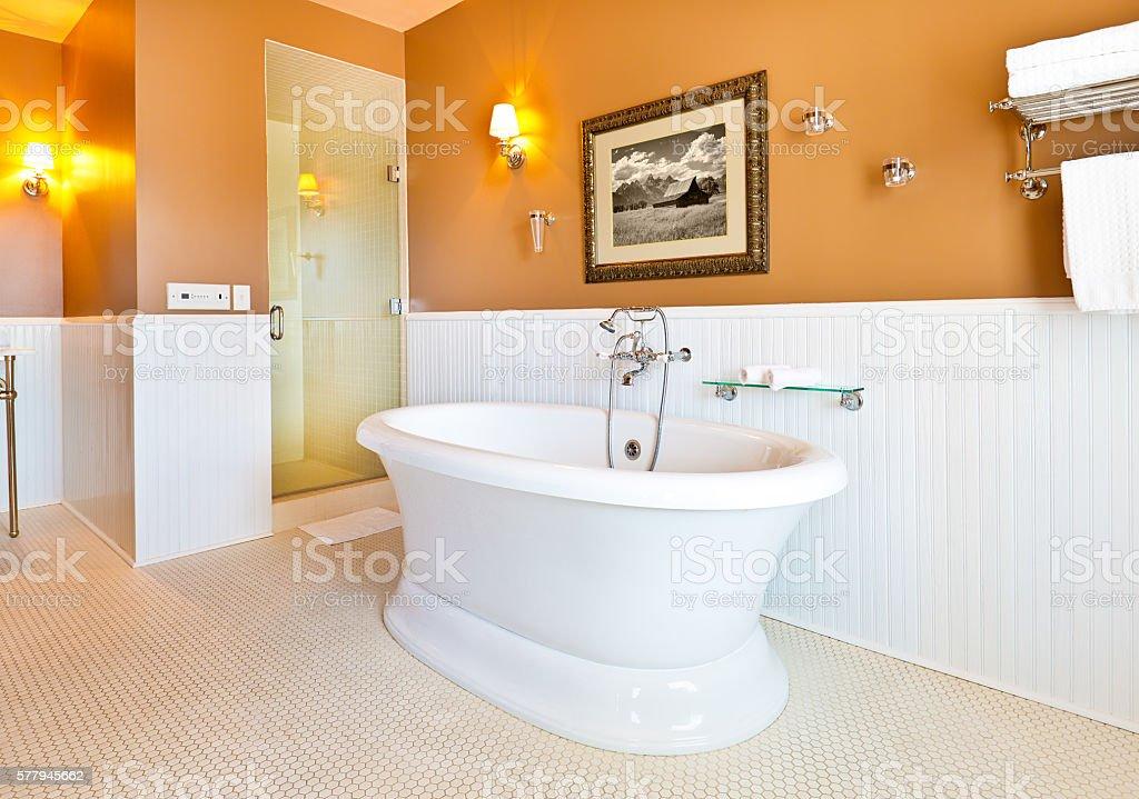 Contemporary Classic Bathroom Design with Freestanding Bathtub stock photo
