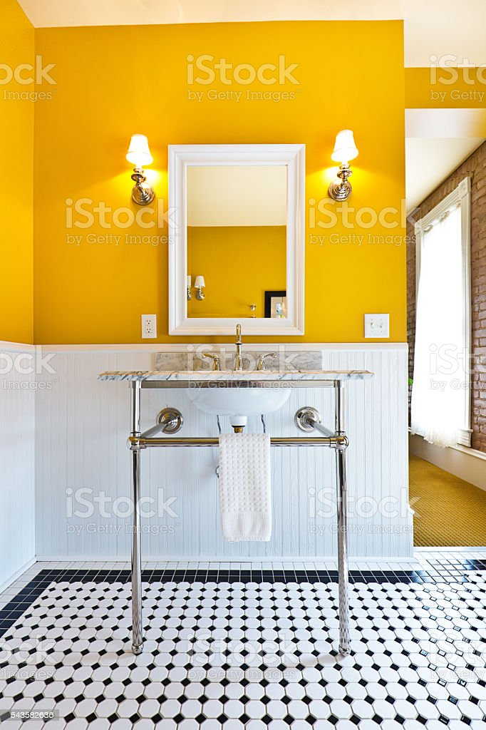 Contemporary Classic Bathroom Design with Pedestal Sink stock photo