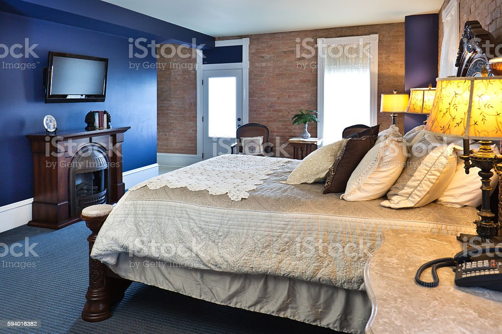 Contemporary Classic Bedroom Restoration Remodeling Interior Design stock photo