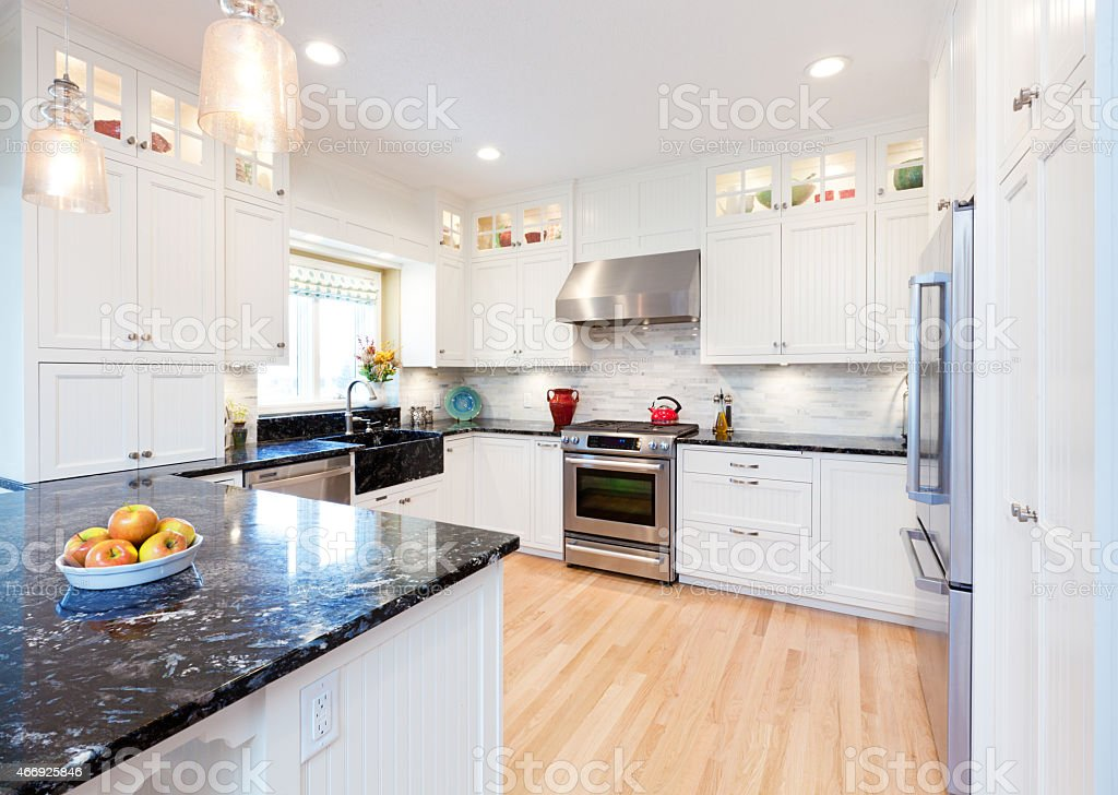 Contemporary Classic Domestic Kitchen for Residential Home stock photo