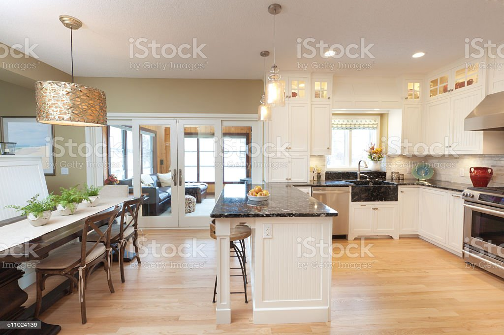 Contemporary Classic Open Concept Design of Kitchen, Dining Room stock photo