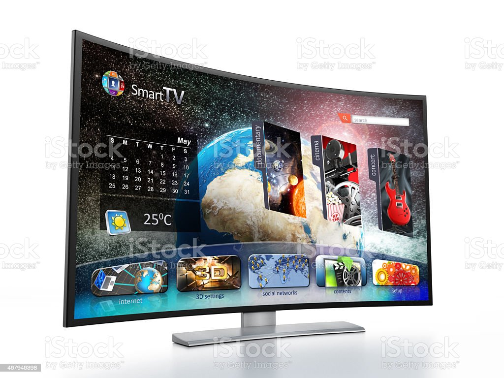 Contemporary Curved LED Smart TV design stock photo