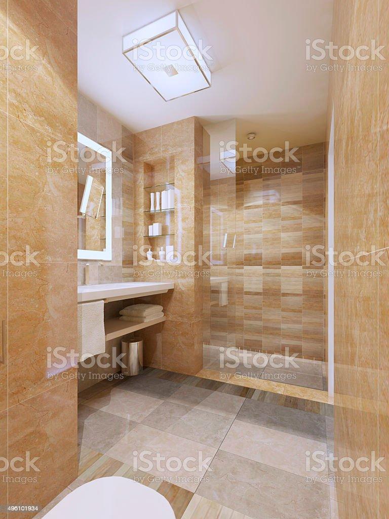 Contemporary design of bathroom stock photo