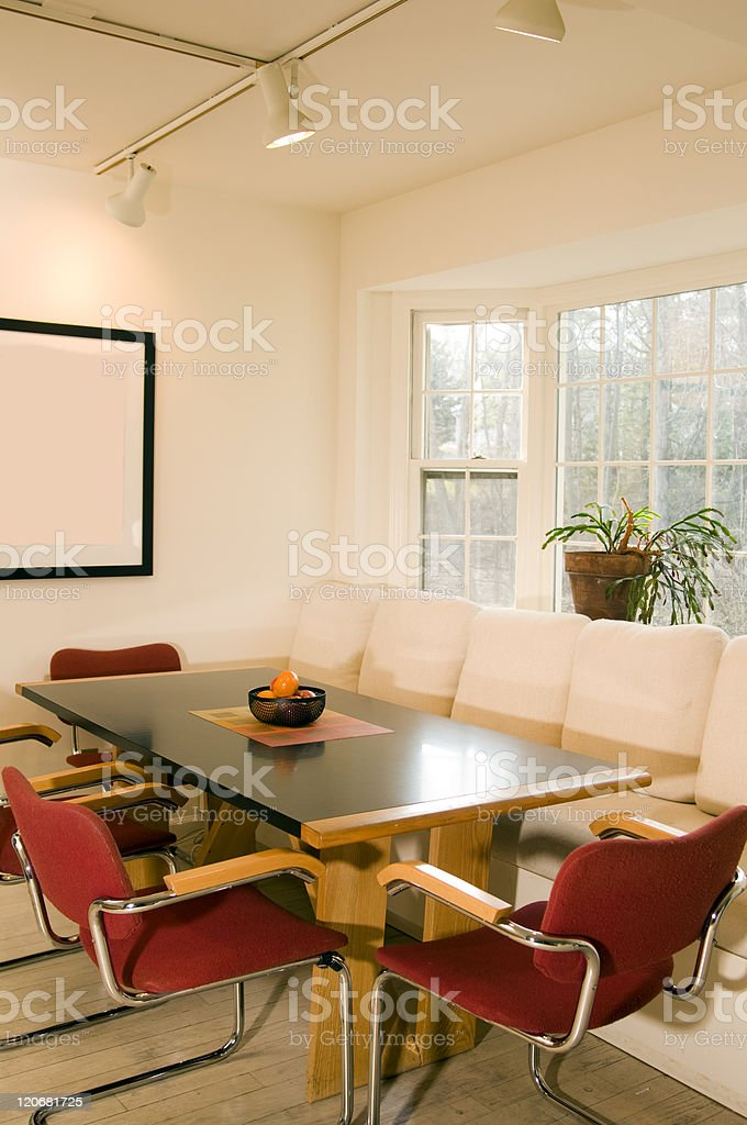 contemporary dining room bay window stock photo