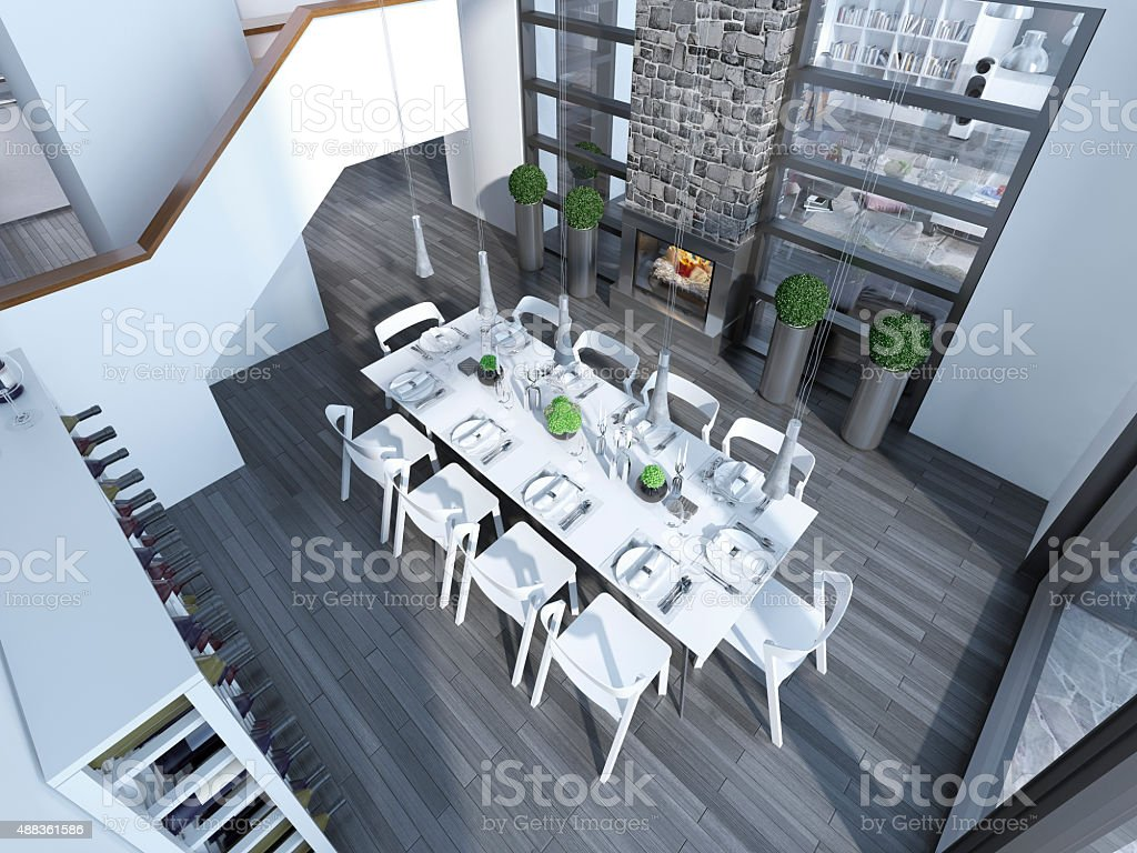 Contemporary dining  with white furniture trend stock photo