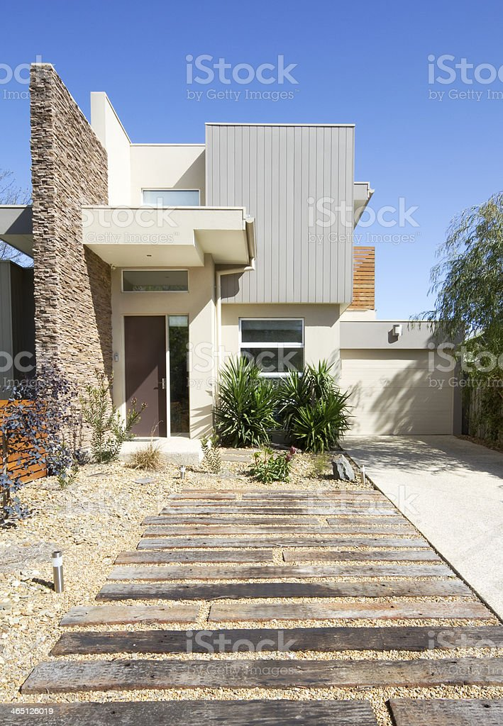 Contemporary double storey townhouse home stock photo