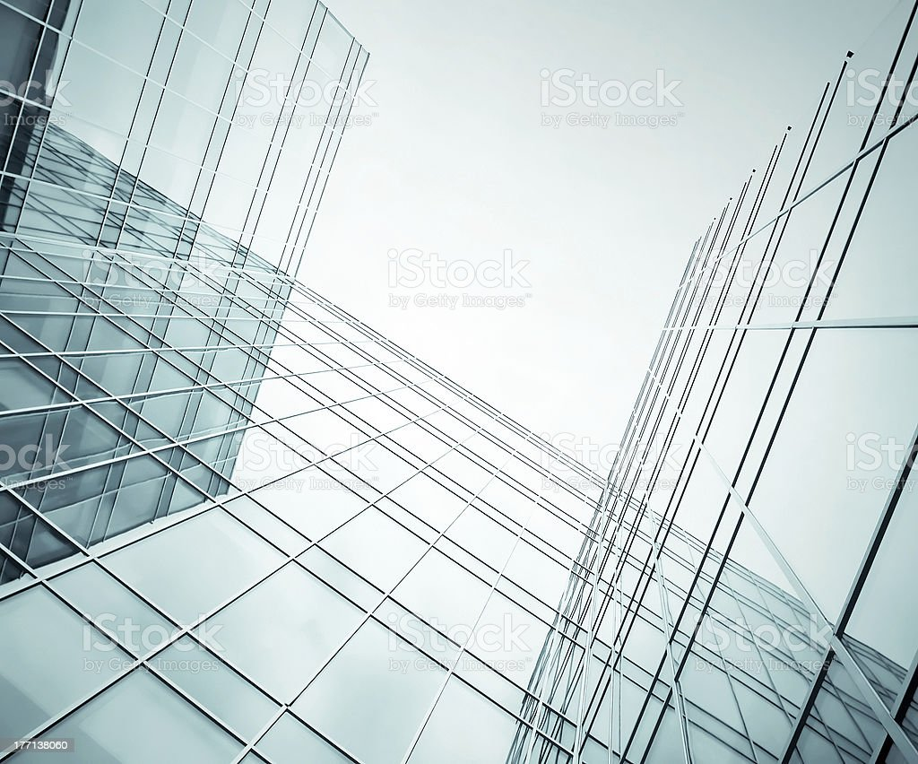 contemporary edifice in the evening royalty-free stock photo