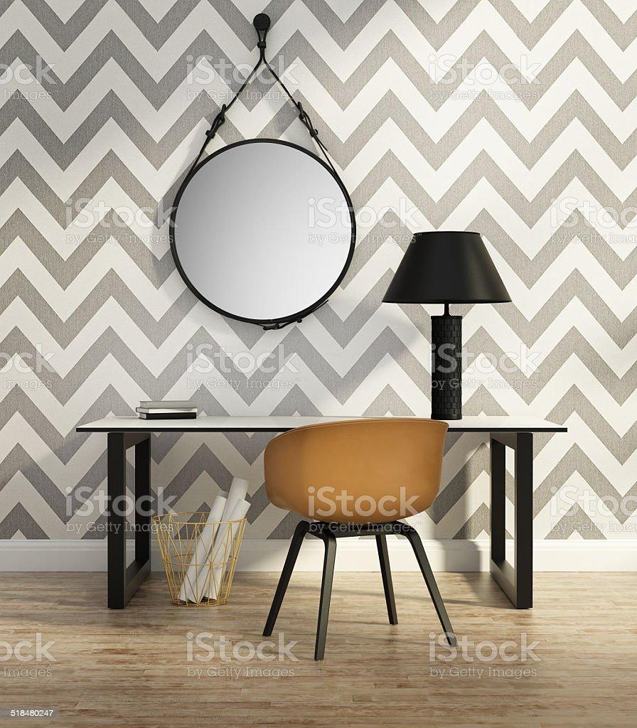 Contemporary elegant home office stock photo