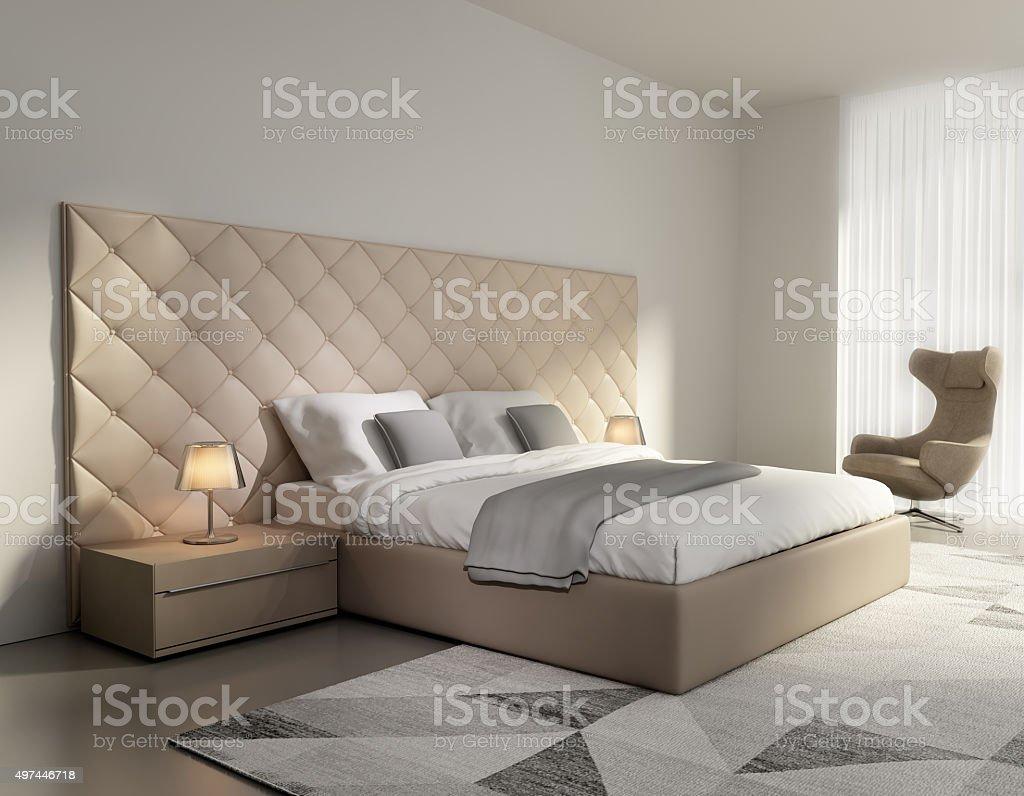 Contemporary elegant luxury beige leather bedroom stock photo