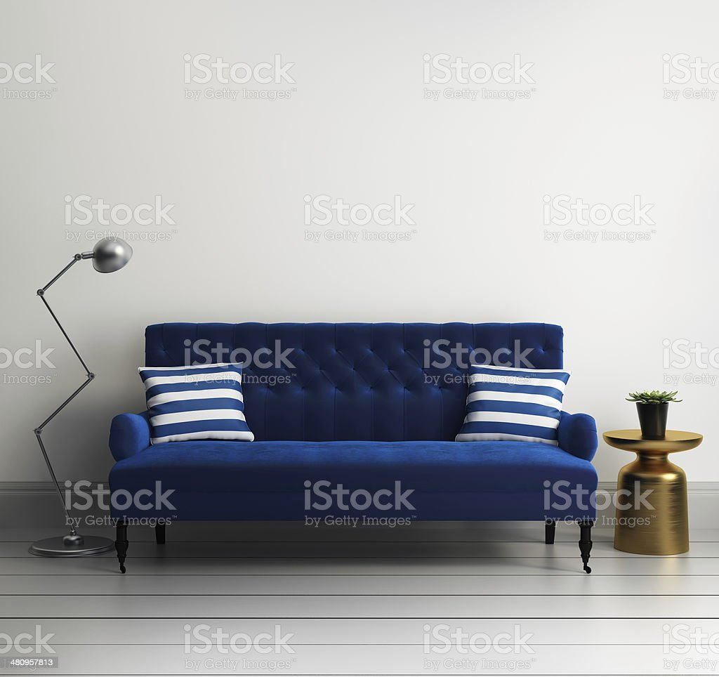 Contemporary elegant luxury blue velvet sofa stock photo