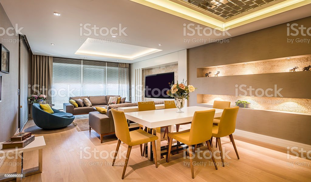 Contemporary elegant luxury living room stock photo
