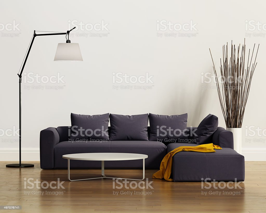 Contemporary elegant luxury purple sofa with cushions stock photo