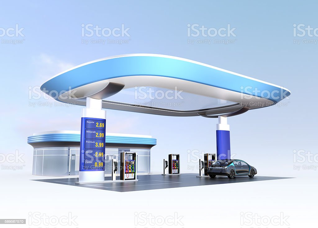 Contemporary EV charging station and gas station stock photo