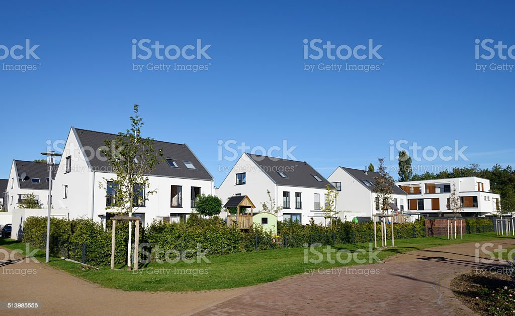 Contemporary family detached houses / new settlement stock photo