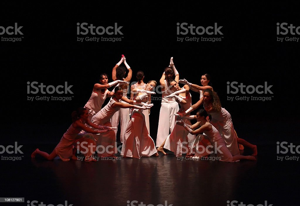 Contemporary Female Dancers on Stage stock photo