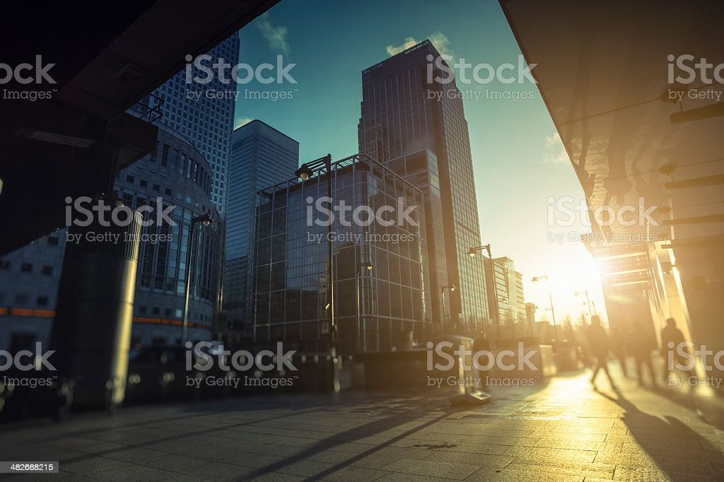 Contemporary financial district in Canary Wharf during sunrise, London stock photo