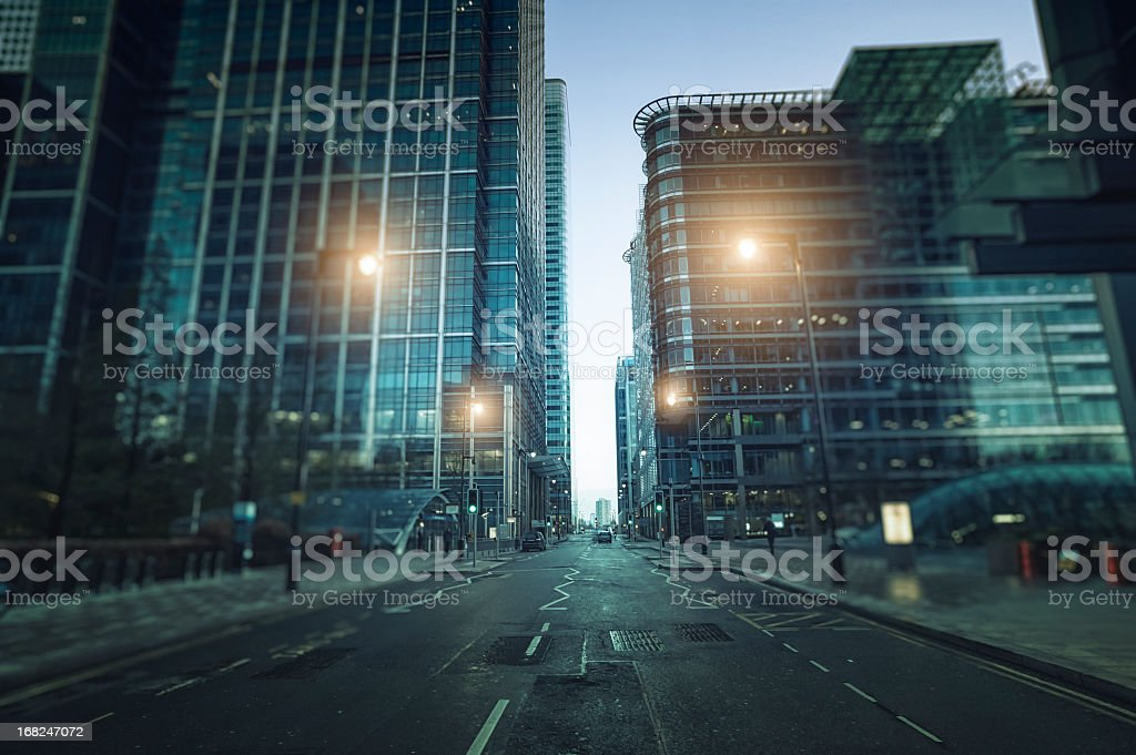 Contemporary financial district in Canary Wharf during twilight, London stock photo