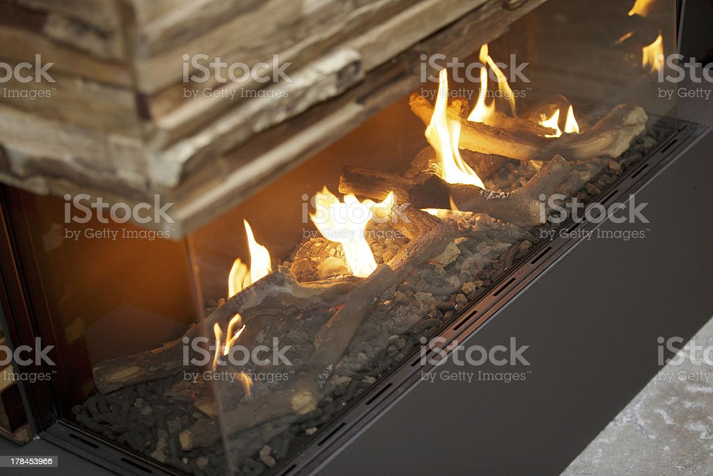 contemporary fire place stock photo
