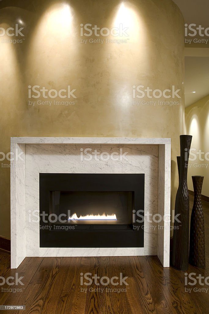 Contemporary fireplace. stock photo
