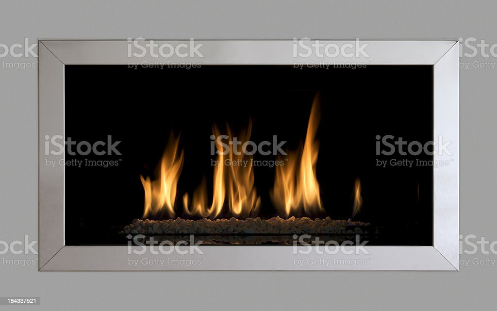 contemporary gas fire stock photo